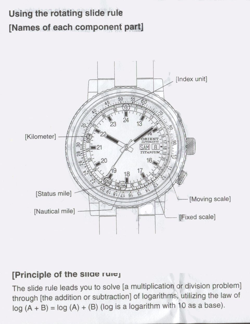 Instructions For Orient Sliderule Watch